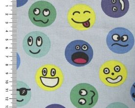 100% Cotton Smiley Face Print on Sky Blue Fabric x 0.5m